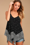 Beach Princess Black and White Print Tank Top 2