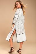 Intuition Black and White Print Lace Kimono Top 2