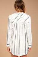 Billabong Meadow Swing Black and White Striped Button-Up Top 1