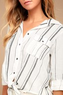 Billabong Meadow Swing Black and White Striped Button-Up Top 4