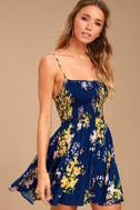 Fairytale Bliss Navy Blue Floral Print Skater Dress 1