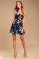 Fairytale Bliss Navy Blue Floral Print Skater Dress 2