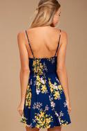 Fairytale Bliss Navy Blue Floral Print Skater Dress 3