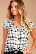 PPLA Flint Navy Blue Plaid Button-Up Top 1