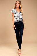 PPLA Flint Navy Blue Plaid Button-Up Top 2