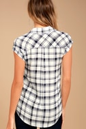 PPLA Flint Navy Blue Plaid Button-Up Top 3
