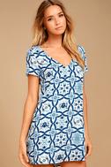 Mood Mosaic Blue and White Print Shift Dress 1