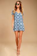 Mood Mosaic Blue and White Print Shift Dress 2