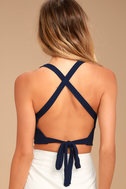 Party Vibes Navy Blue Crop Top 3
