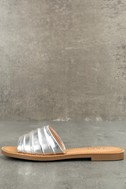 Zola Silver Slide Sandals 1