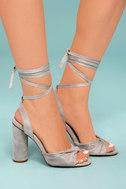 Rumer Grey Suede Lace-Up Heels 3
