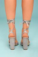 Rumer Grey Suede Lace-Up Heels 4
