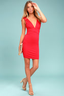 Glam Affair Coral Red Bodycon Dress 1