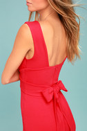Glam Affair Coral Red Bodycon Dress 4
