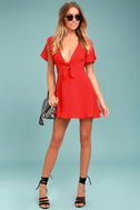 Sea Day Red Skater Dress 1