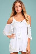 Rahi Cali Dreamer White Embroidered Off-the-Shoulder Romper 2