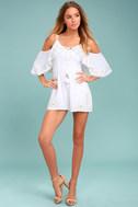 Rahi Cali Dreamer White Embroidered Off-the-Shoulder Romper 1