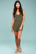 Sunny Melody Olive Green Romper 1