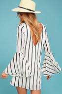 Baseline Black and White Striped Long Sleeve Shift Dress 2