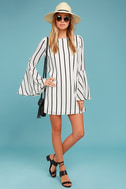 Baseline Black and White Striped Long Sleeve Shift Dress 1