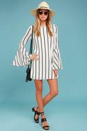 Baseline Black and White Striped Long Sleeve Shift Dress 1