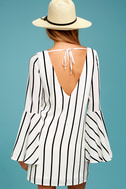 Baseline Black and White Striped Long Sleeve Shift Dress 3