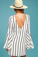 Baseline Black and White Striped Long Sleeve Shift Dress 3