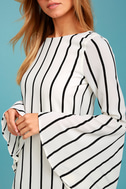 Baseline Black and White Striped Long Sleeve Shift Dress 4