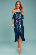 Rahi Cali Vineyard Escape Navy Blue Off-the-Shoulder Dress 1