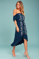 Rahi Cali Vineyard Escape Navy Blue Off-the-Shoulder Dress 2