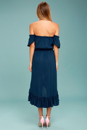 Rahi Cali Vineyard Escape Navy Blue Off-the-Shoulder Dress 3
