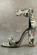 Angeline Green Brocade Ankle Strap Heels 1