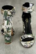 Angeline Green Brocade Ankle Strap Heels 2