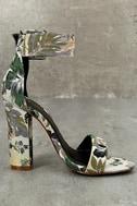 Angeline Green Brocade Ankle Strap Heels 3