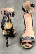 Philomena Black Brocade Ankle Strap Heels 2