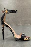 Philomena Black Brocade Ankle Strap Heels 3