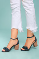 Report Pearlina Blue Suede Ankle Strap Heels 4