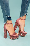 Steve Madden Glory Dusty Rose Satin Studded Platform Heels 4