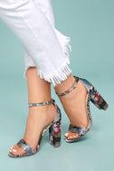 Steve Madden Carrson Bright Multi Brocade Ankle Strap Heels 4
