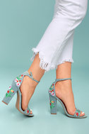 Suri Light Blue Embroidered Ankle Strap Heels 4