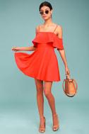 Waterfront Red Off-the-Shoulder Skater Dress 1