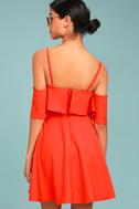 Waterfront Red Off-the-Shoulder Skater Dress 3