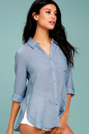 Up the Hillside Blue Long Sleeve High-Low Top 3