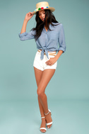 Up the Hillside Blue Long Sleeve High-Low Top 2