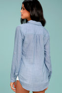 Up the Hillside Blue Long Sleeve High-Low Top 1
