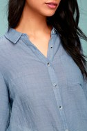 Up the Hillside Blue Long Sleeve High-Low Top 4