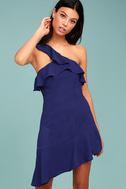 Beautiful View Royal Blue One-Shoulder Dress 2