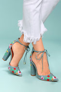 Cassia Light Blue Embroidered Lace-Up Heels 1