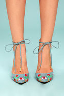 Cassia Light Blue Embroidered Lace-Up Heels 2