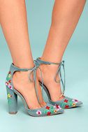 Cassia Light Blue Embroidered Lace-Up Heels 3